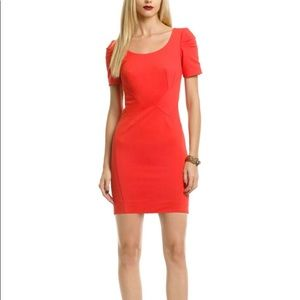 Zac Posen tomato red fitted cocktail dress